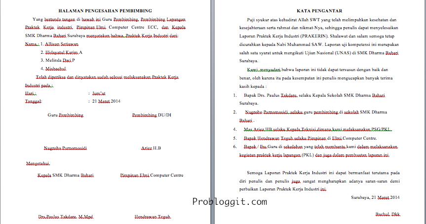 Contoh Daftar Isi Laporan Pkl Mahasiswa Contoh 37
