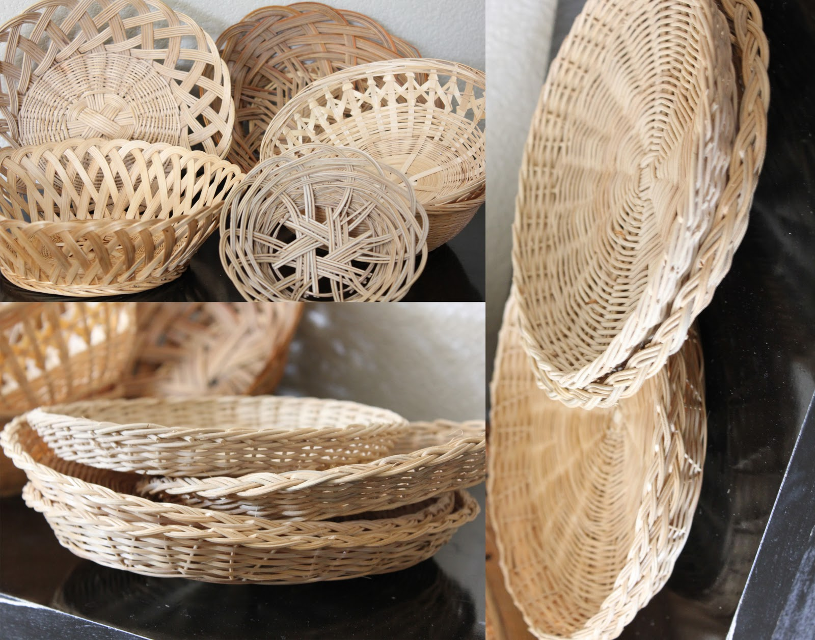 Simple Home Decor Out Of Wicker Bowls And Picnic Paper Plate Holders