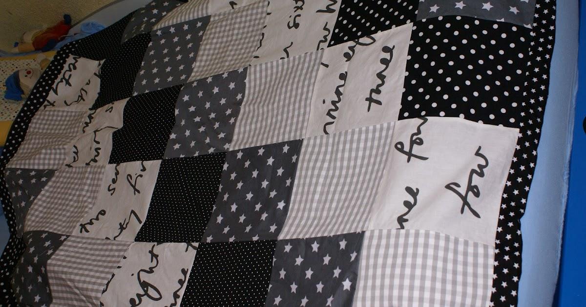 schnubbi kreativ patchworkdecke in schwarz wei grau. Black Bedroom Furniture Sets. Home Design Ideas