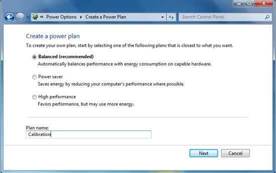 Membuat profil power options baru