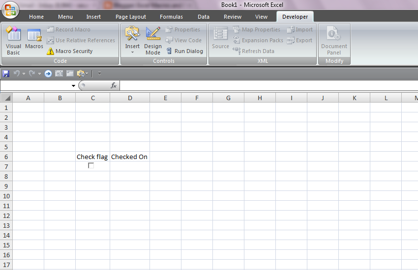 populating the date on check of a checkbox excel macros. Black Bedroom Furniture Sets. Home Design Ideas