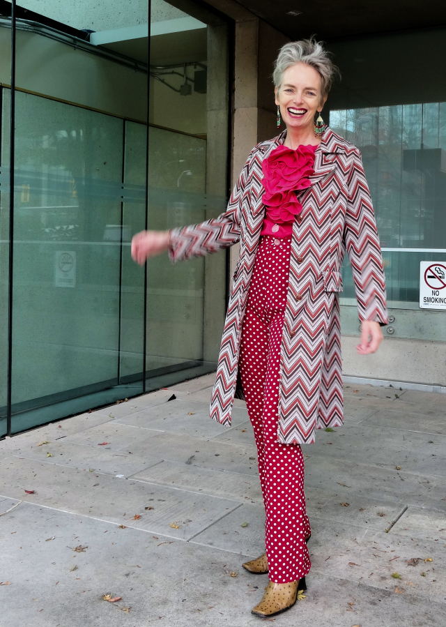 Mel Kobayashi in ruffles, zigzags, and polka dots, vintage and new
