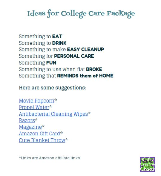 Free Printable College CARE PACKAGE list