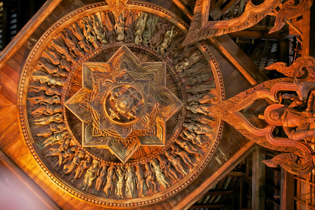Wood carved ceiling at the Sanctuary of Truth in Pattaya