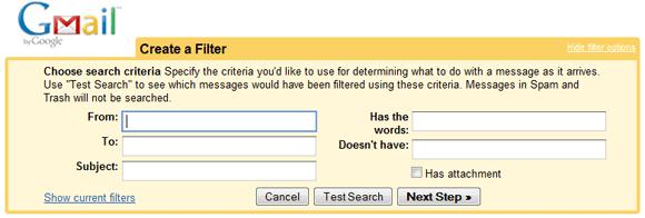 Gmail filter criteria