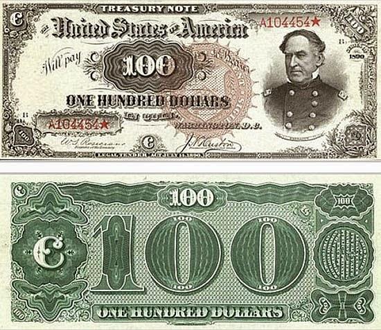 100 долларов США 1890 год