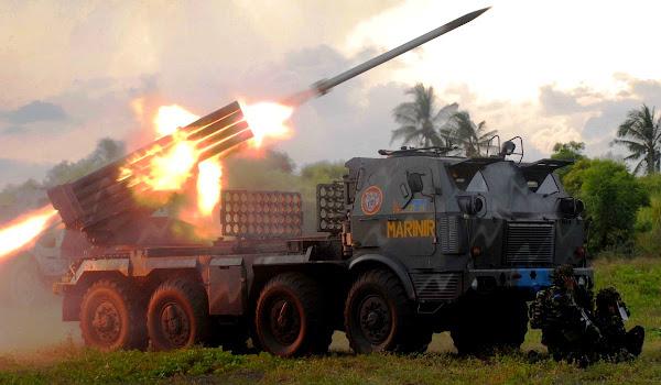 Unit MLRS RM 70 Grad Marinir TNI-AL. PROKIMAL ONLINE Kotabumi Lampung Utara