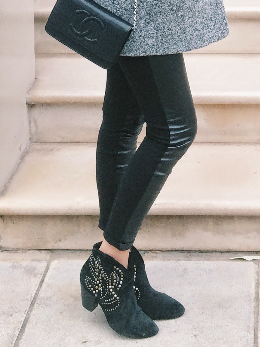 fashion blogger london, ash studded boots, ash black boots, isabel marant boots, leather leggings, faux leather pants, chanel clutch, chanel bag, chanel wallet on chain black