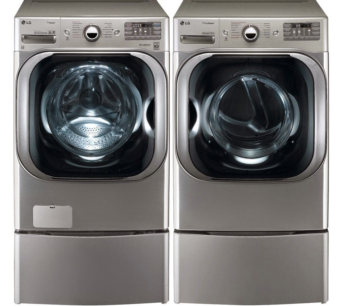 Lg 2 3 cu ft all in one washer and dryer - Lg Graphite 51 Cf Front Load Steam Washer And Dryer Set With Pedestals