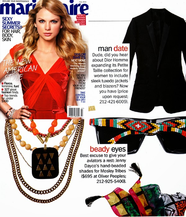 Marie Claire magazine features beaded sunglasses by Jenny Dayco