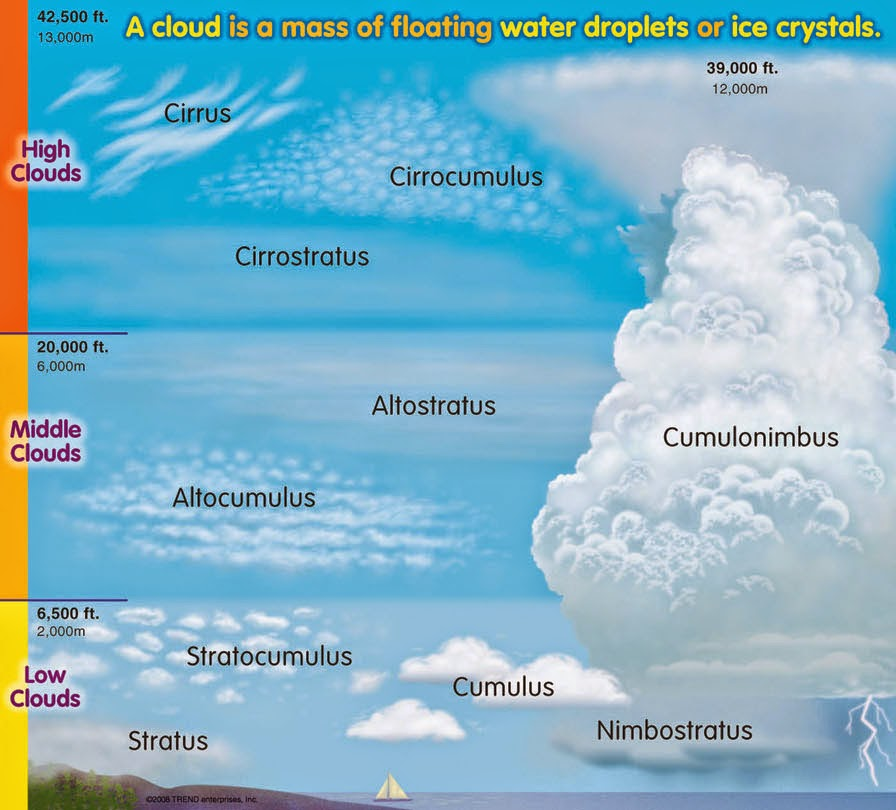 the different types of clouds When you look up at the sky, you may notice that some clouds look very different from others clouds come in a variety of forms, and we will explore the different types of clouds in this lesson.