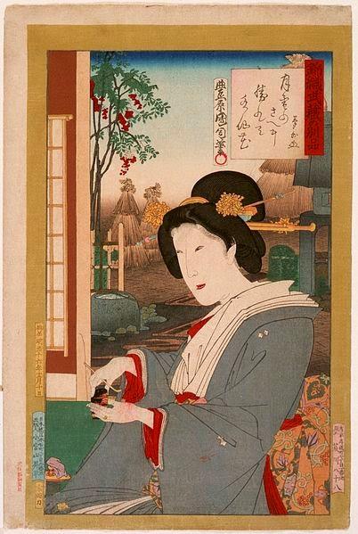 Toyohara Kunichika, Okakura Kakuzō, Księga herbaty, Okres ochronny na czarownice, Carmaniola
