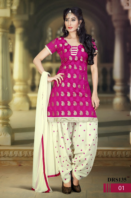 Embroidered Patiyala Style Dress Material Online