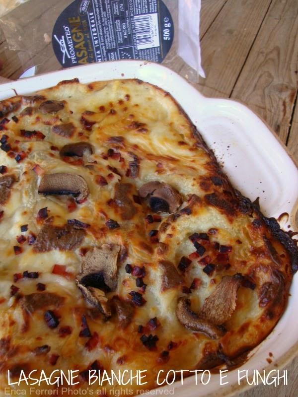 Lasagne bianche con funghi e prosciutto cotto