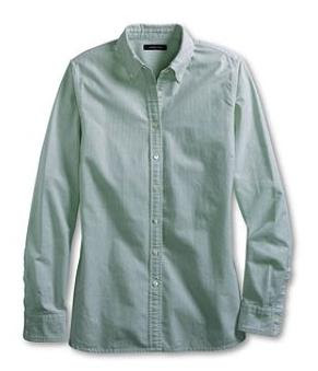 Dew Green Washed Oxford Stripe Shirt