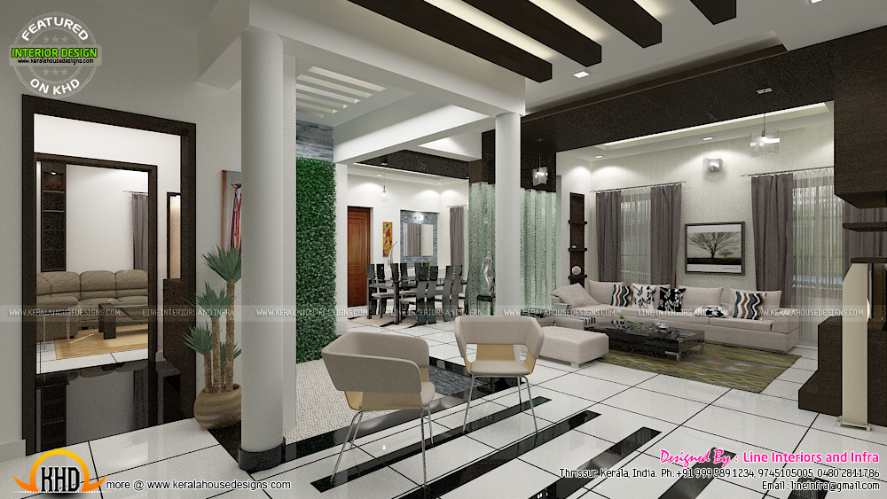 Contemporary dining living and courtyard interior design for Living room interior designs kerala