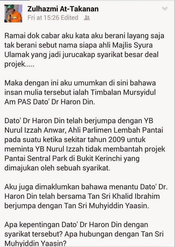 Penyokong Anwar Dedahkan Haron Din Jumpa Nurul Izzah Minta Jangan Bantah Projek Di Kerinchi