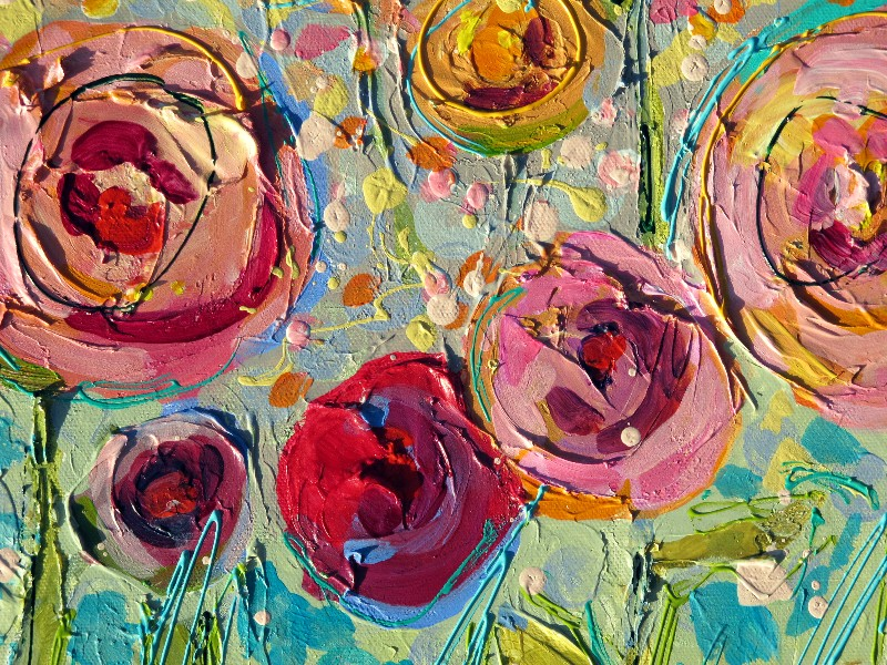 Nancy standlee fine art sweet summer roses 12101 mixed for Floral acrylic paintings