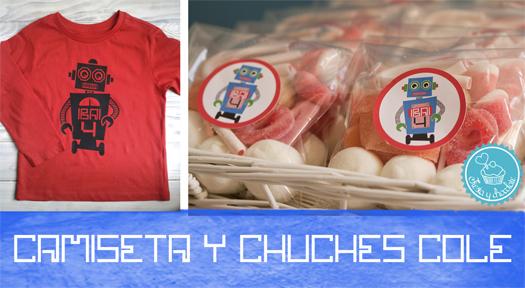 Camiseta personalizada robot y chuches by Fiesta y chocolate