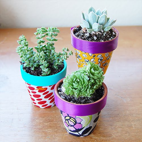 The craftinomicon fabric covered flower pots for Decorative flowers for crafts