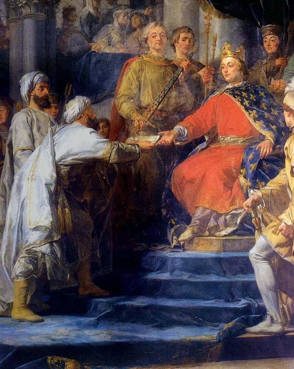 São Luís recebe enviados do Velho da Montanha, ou Príncipe dos Assassinos, seita islâmica. Guy-Nicolas Brenet  (1728 — 1792)
