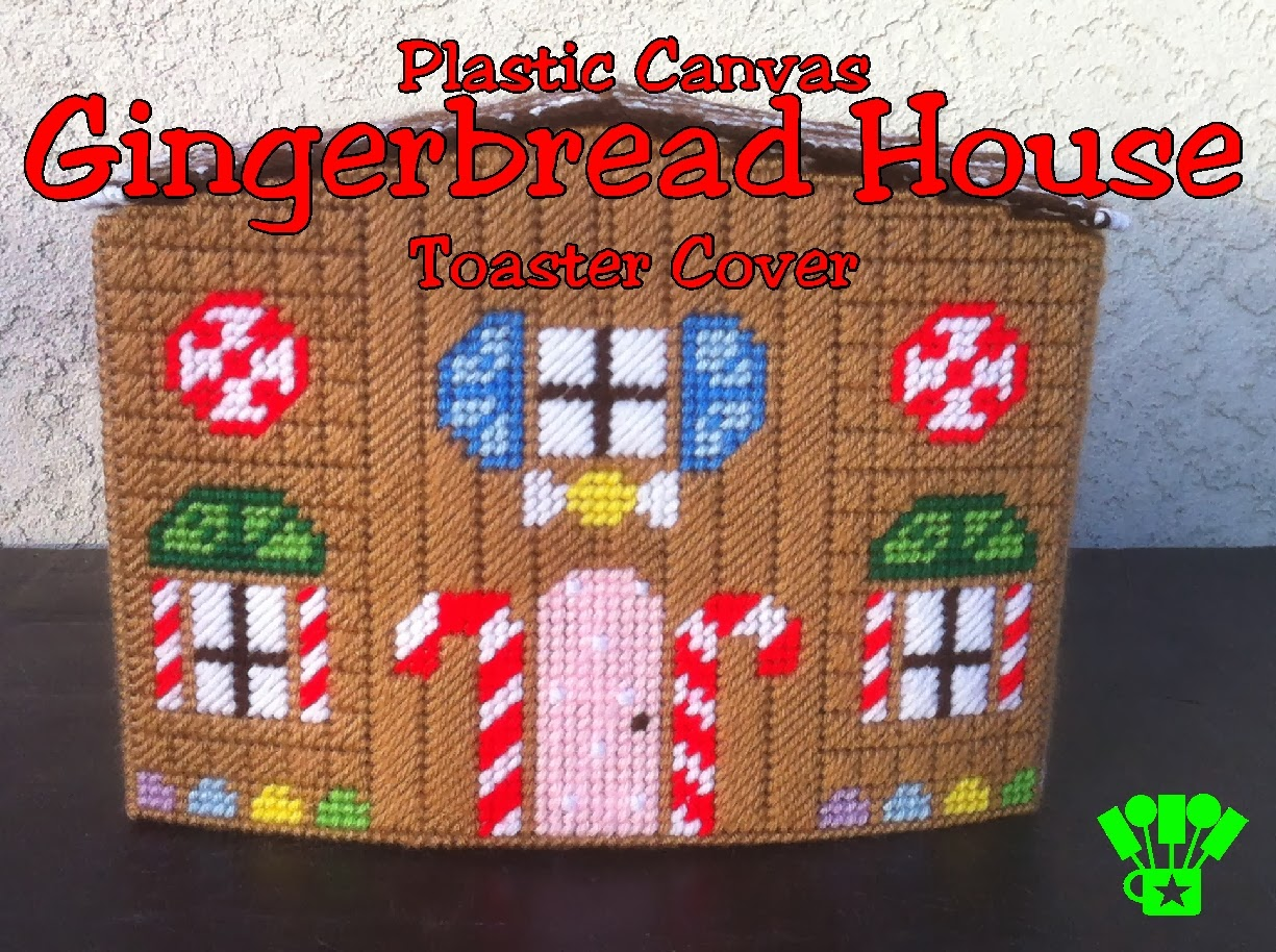 Gingerbread House Plastic Canvas Pattern.   A sweet cover for your toaster.  #PlasticCanvas #Gingerbread