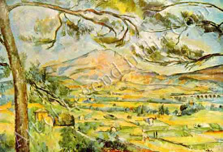 Mont Sainte-Victoire (1885-87), This rugged mountain near his family home held strong emotional associations for Cezanne. He described it to Zola in 1878 as a 'stunning motif and painted it obsessively for the next three decades. In 7 this version, the contours of the distant mountain are echoed by the branches a' of the pine tree.