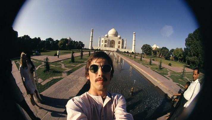 George Harrison with a fisheye lens in India, 1966