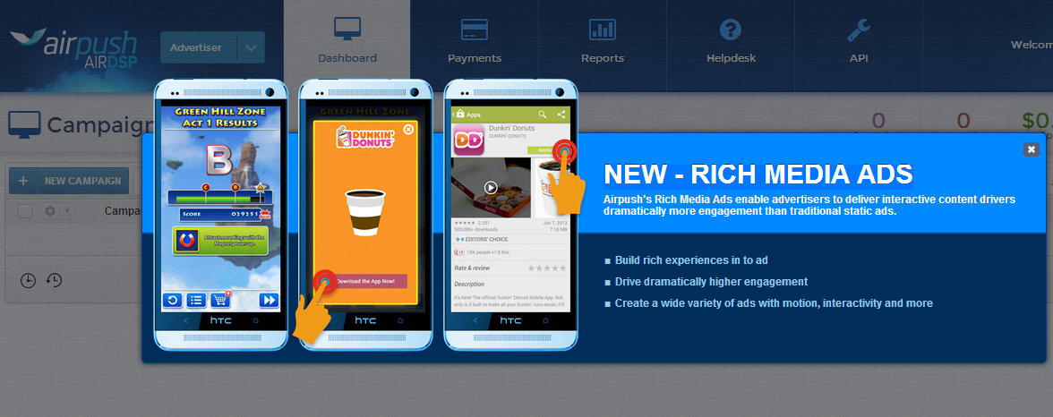 บริการโฆษณาแอปส์บนมือถือสมาร์ทโฟน  Mobile App Advertising ด้วย Airpush NEW - RICH MEDIA ADS