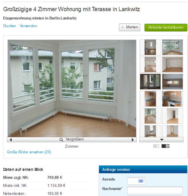 Großzügige 4 Zimmer Wohnung mit Terasse in Lankwitz Siemensstrasse ...
