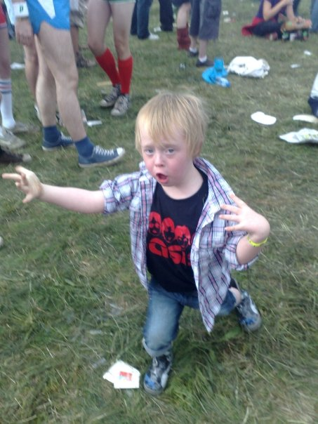Kyd, air guitar, Reading Festival, Festival, Down Syndrome, age 4, cool, kid, my life my son my way,