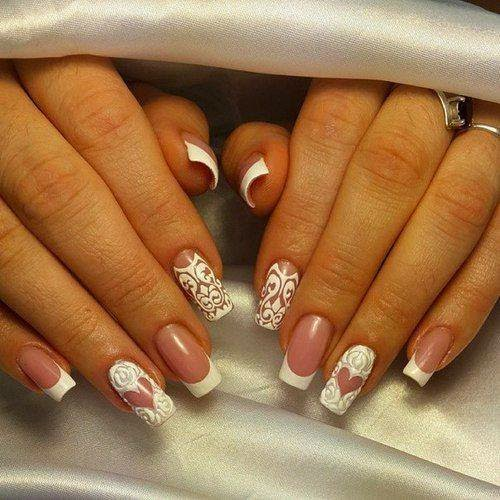 Mixed White Nails Designs