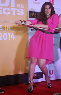 Actress Vidya Balan Pictures in Pink Short Dress at Shaadi Ke Side Movie Trailer Launch 0016.jpg