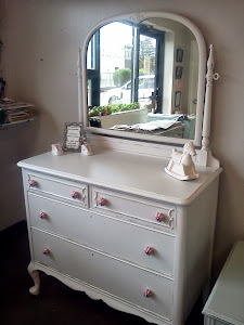 Vintage Painted and distressed dresser with mirror