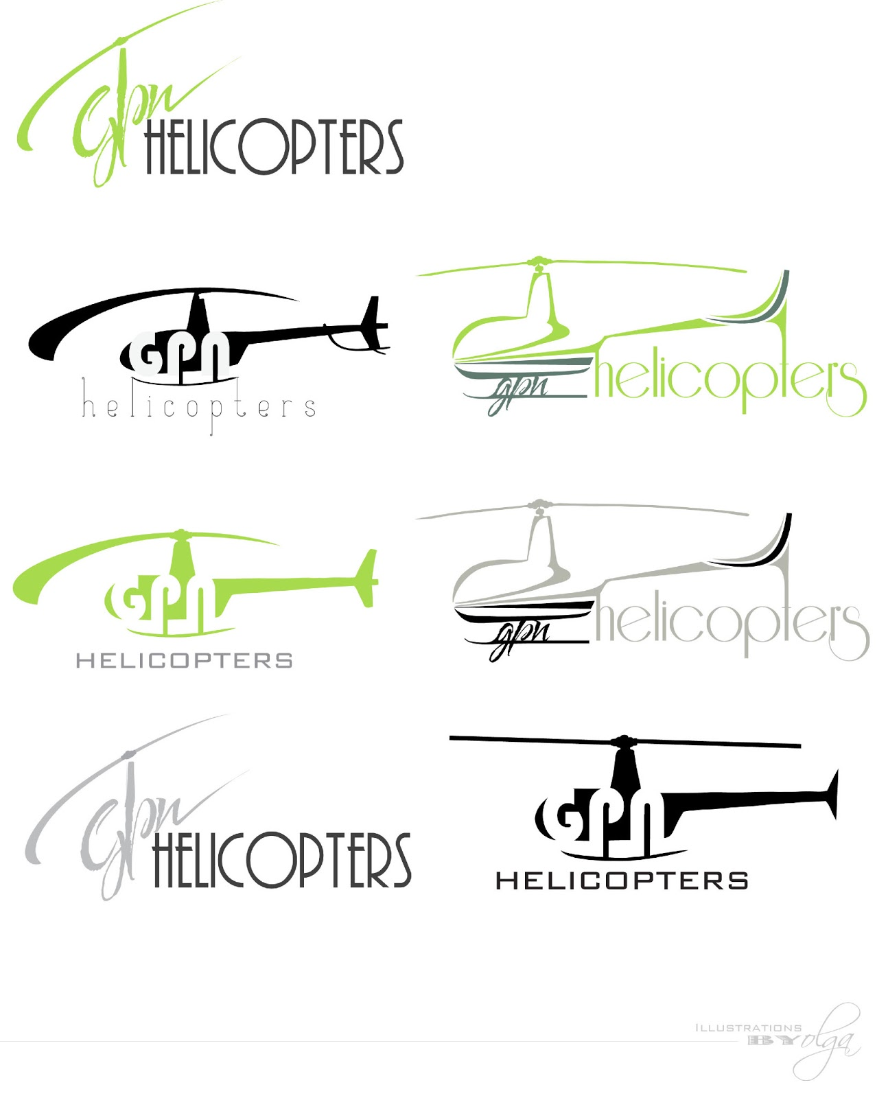 illustrations by olga gpn helicopters logo design