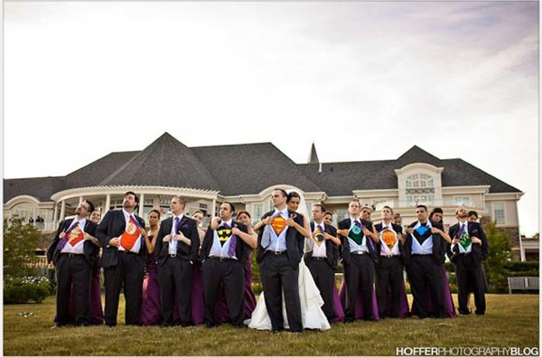 superhero themed wedding photo