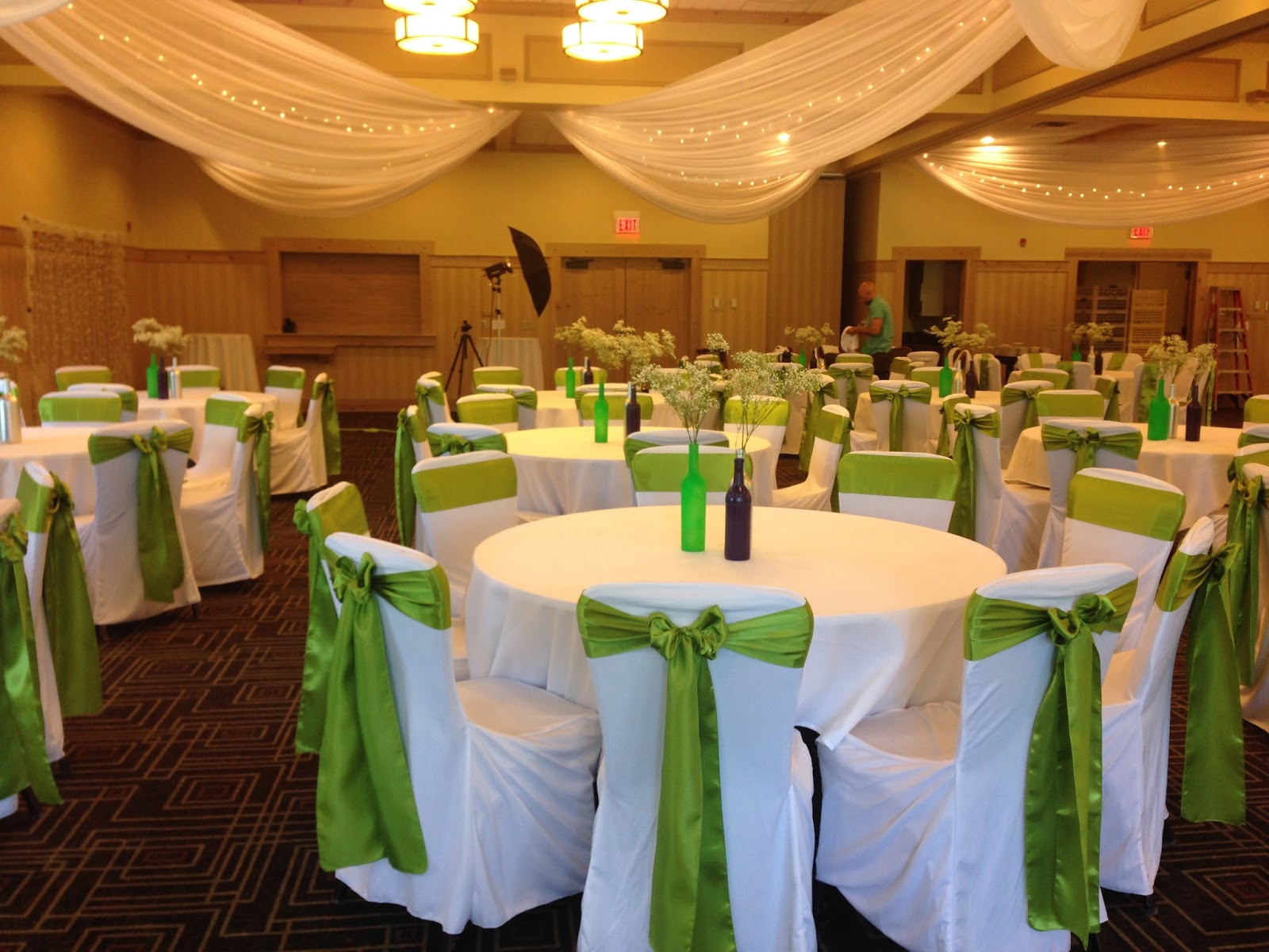 Ceiling D Lime Green Sashes White Chair Covers