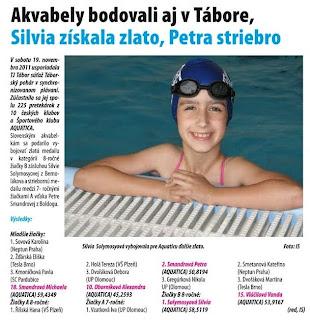 Senecko č. 47 / 2011 : Akvabely bodovali aj v Tábore, Silvia získala zlato, Petra striebro