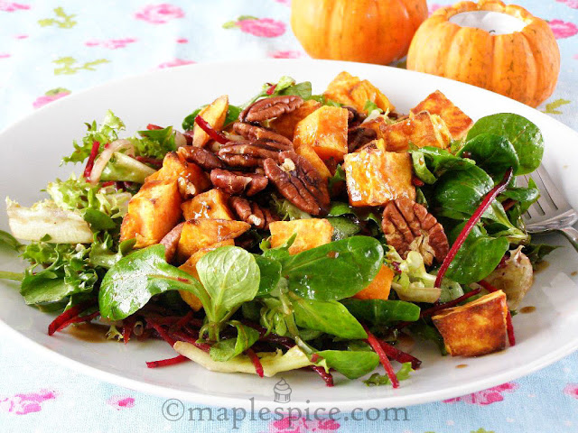 Warm Roasted Sweet Potato and Pecan Salad with Mixed Leaf and Beetroot with a Maple-Balsamic Dressing