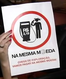 Protesto contra preo da Gasolina   NA MESMA MOEDA textos noticias curiosidades 