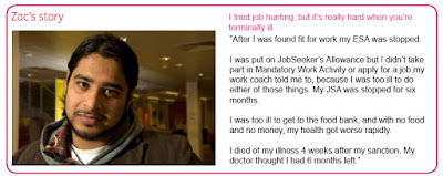 On the left side is the same photo of Zac. Across the top in pink text it says 'Zac's story. I tried job hunting, but it's really hard when you're terminally ill.' Beneath that in black it says 'After I was found fit for work my ESA was stopped. I was put on JobSeekers' Allowance but I didn't take part in Mandatory Work Activity or apply for a job my work coach told me to, because I was too ill to do either of those things. My JSA was stopped for six months. I was too ill to get to the food bank, and with no food and no money, my health got worse rapidly. I died of my illness 4 weeks after my sanction. My doctor thought I had 6 months left.