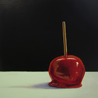 realistic candy apple painting still life, junk food art, jeanne vadeboncoeur