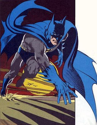 Batman runs across a crepuscular beach, by Neal Adams