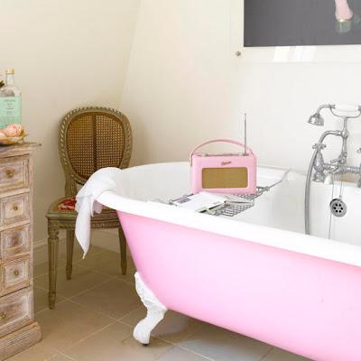 vintage clawfoot tub, pink pastel