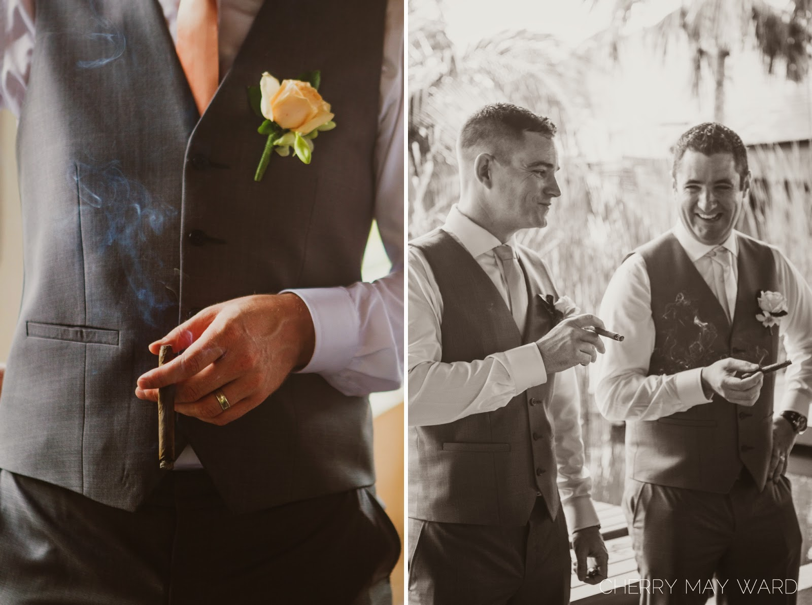 men with cigars laughing, having a good time, Koh Samui wedding, fun wedding photography with friends, fun with wedding party during photos, wedding portraits with cigars, Koh Samui wedding photographer, Cherry May Ward Photography