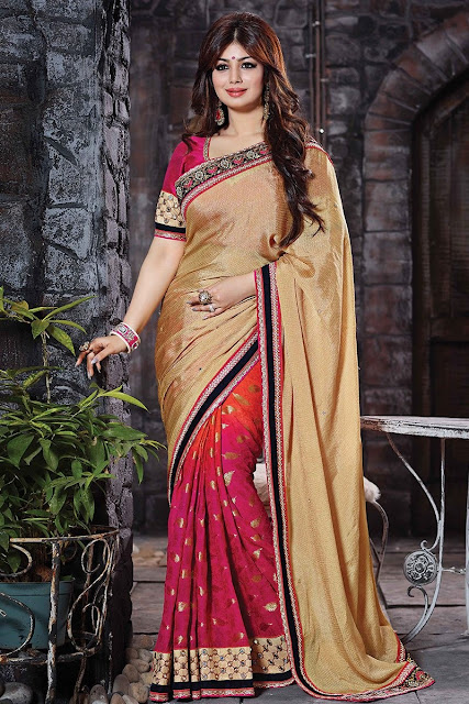 Beige & Brown Viscose Jacquard Saree With Art Silk Blouse