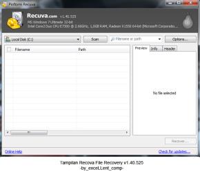 Mengembalikan data file yang hilang dengan Recuva
