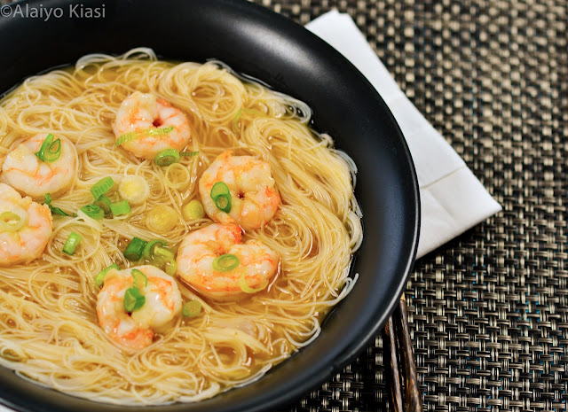 Pescetarian Journal: Shrimp Miso Noodle Soup #SundaySupper