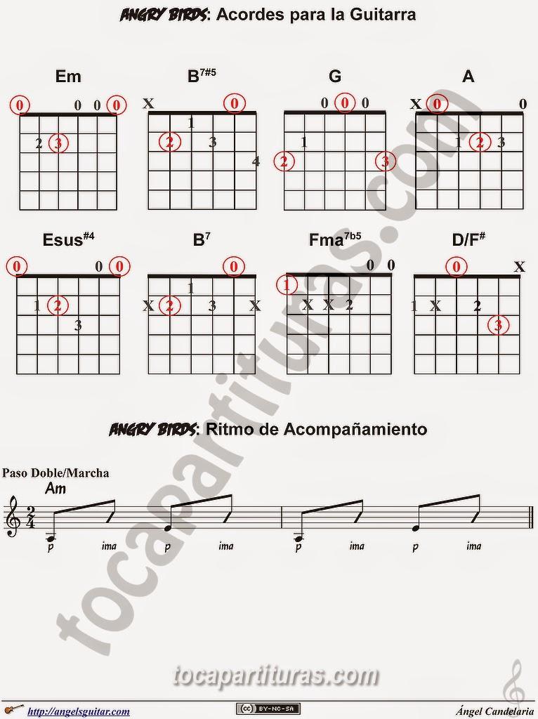 Angry Birds Acordes para Guitarra y ritmo de acompañamiento