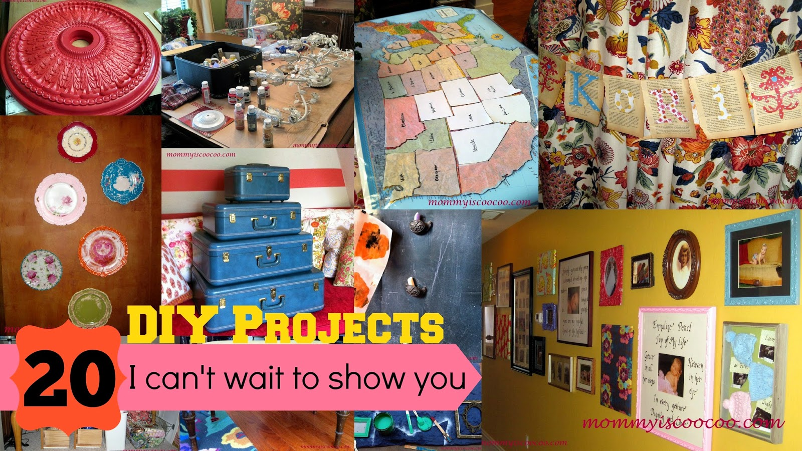 DIY projects, gallery wall, ceiling medallion, plate wall, vintage luggage from mommy is coocoo